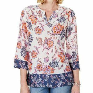 Charter Club S White Floral Mixed Top NWT L73